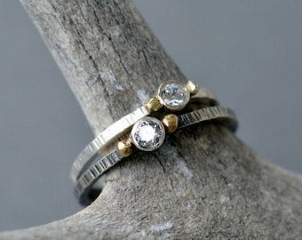 Petite Solitaire Ring- White Topaz or Cubic Zirconia- delicate cz ring, white topaz ring, stacking ring, promise ring, engagement ring
