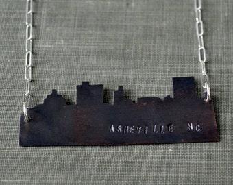 Asheville Skyline Necklace- skyline necklace, city necklace, landscape necklace, asheville nc, personalized jewelry gift, travel necklace