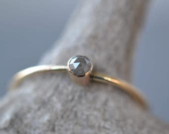 Dainty Diamond Ring- 14k gold- raw diamond ring, rose cut diamond, thin diamond ring, engagement ring, minimalist ring, promise ring