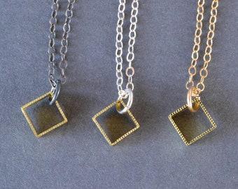 Petite Milgrain Square Pendant- minimalist gold square pendant, delicate cube layering necklace, dainty everyday square necklace