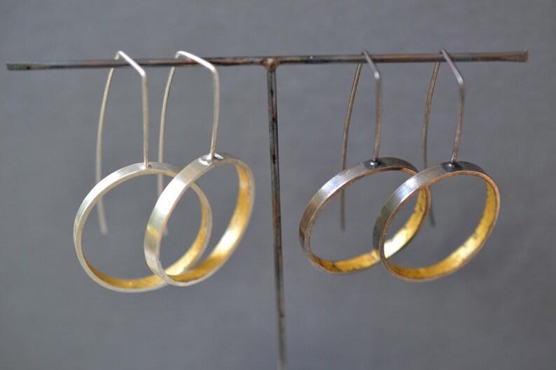 long hoop earrings Modern Hoop Earrings- silver and gold- minimalist earrings geometric earrings contemporary drop earrings