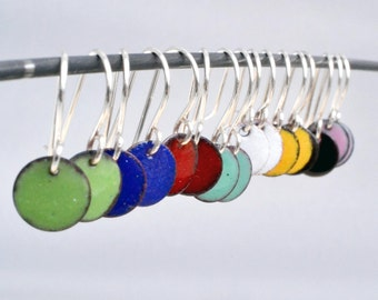 Colored Enameled Disc Earrings in yellow, red, mint, pink, blue, white, black or green