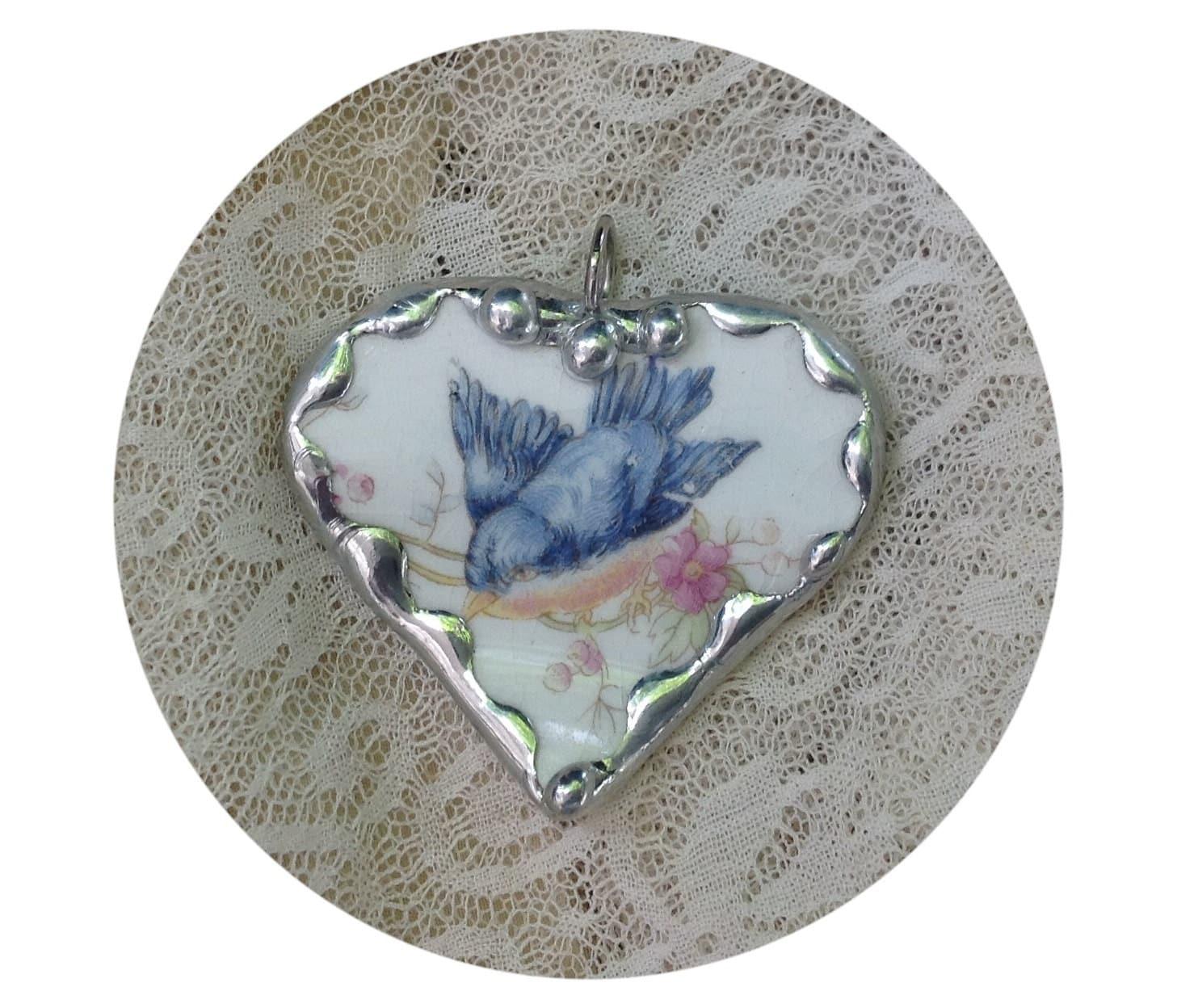Sweet Fluffy: Vintage Broken China Jewelry Sweet Fluffy Bluebird Heart