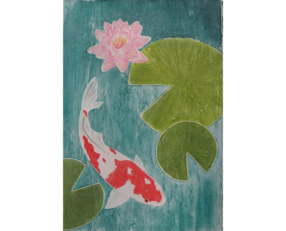 Koi Fish And Lily Pads Woodblock Print Lotus Flower