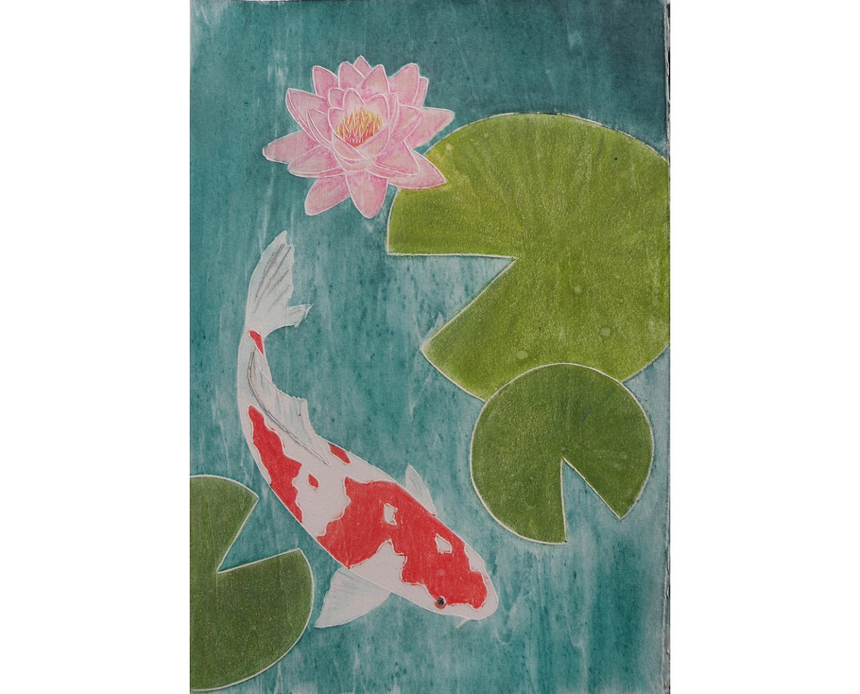 Koi fish and lily pads woodblock print lotus flower etsy zoom izmirmasajfo