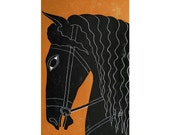 Arion Mythological Horse Woodblock Print