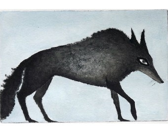 Inky Wolf  Etching Print hand colored
