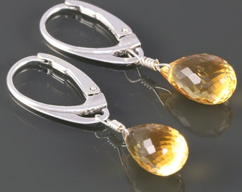 Golden Citrine Earrings. Sterling Silver. Lever Back Ear Wires. Genuine Gemstone. November Birthstone. s16e020