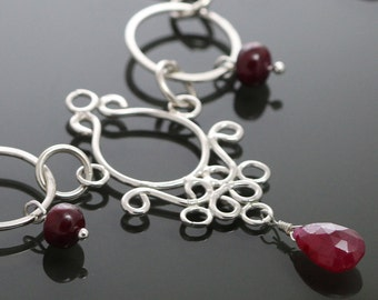 CLEARANCE. Genuine Ruby Necklace. Sterling Silver Filigree. July Birthstone. 19 Inch Necklace. f09n019