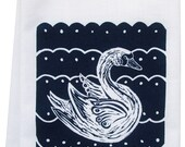 block print swan organic tea towel
