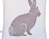 block print bunny accent pillow