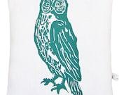 owl accent squillow pillow block print