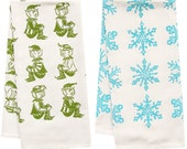 SALE snowflake and elf organic tea towel set