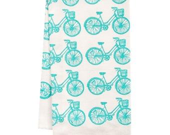 Sale organic bike pattern tea towel BLUE