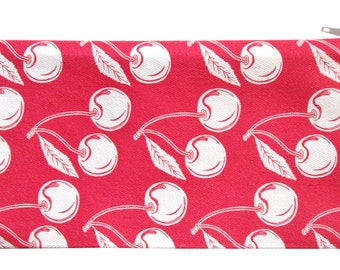 NEW cherry zippered pouch