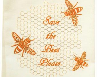 Save the Bees tea towel ORGANIC cotton