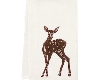 SALE block print deer tea  towel ORGANIC