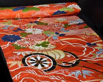"Yuzen kimono 14"" x 86"" (2.4yards) pannel Silk Fabric. Red orange yellow white and blue. Kimono Remnants. Chrysanthemum and carriage."