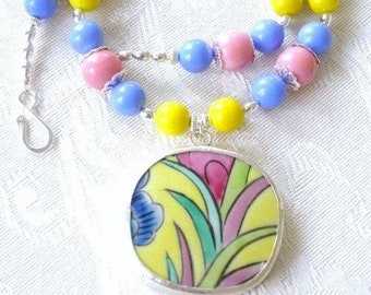 Lola - pottery shard necklace, Ming dynasty, unique handmade gift for mom or bridesmaid, repurposed, upcycled jewelry