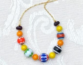 Venice - delicate bright colorful handmade bib necklace lampwork glass - unique gift for woman, mom, best friend, birthday