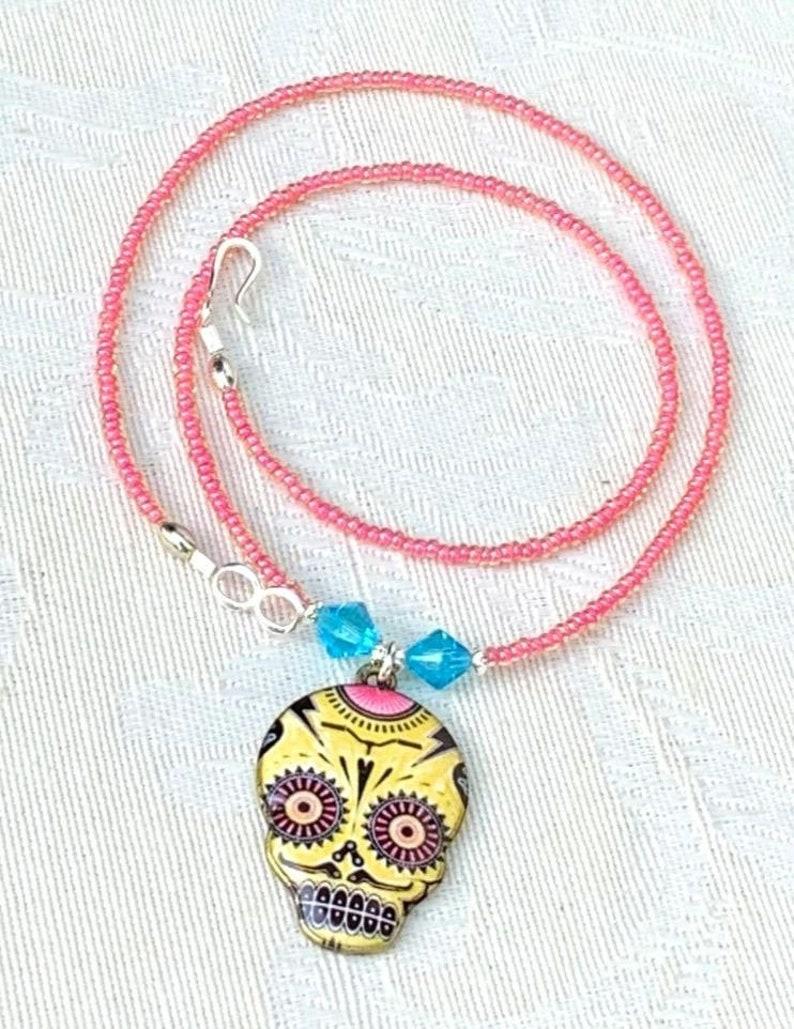 Calavera no. 4  sugar skull pendant necklace handmade Mexican image 0