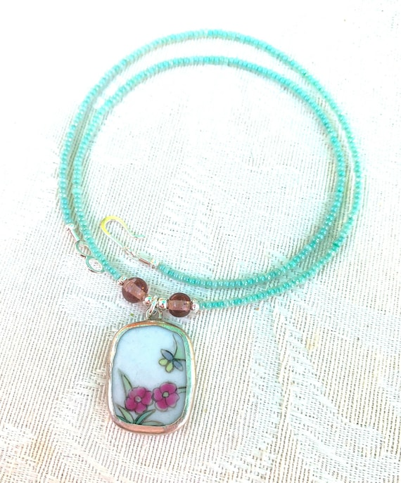 colorful necklace for woman pottery shard necklace Eve Ming dynasty repurposed jewelry unique handmade gift