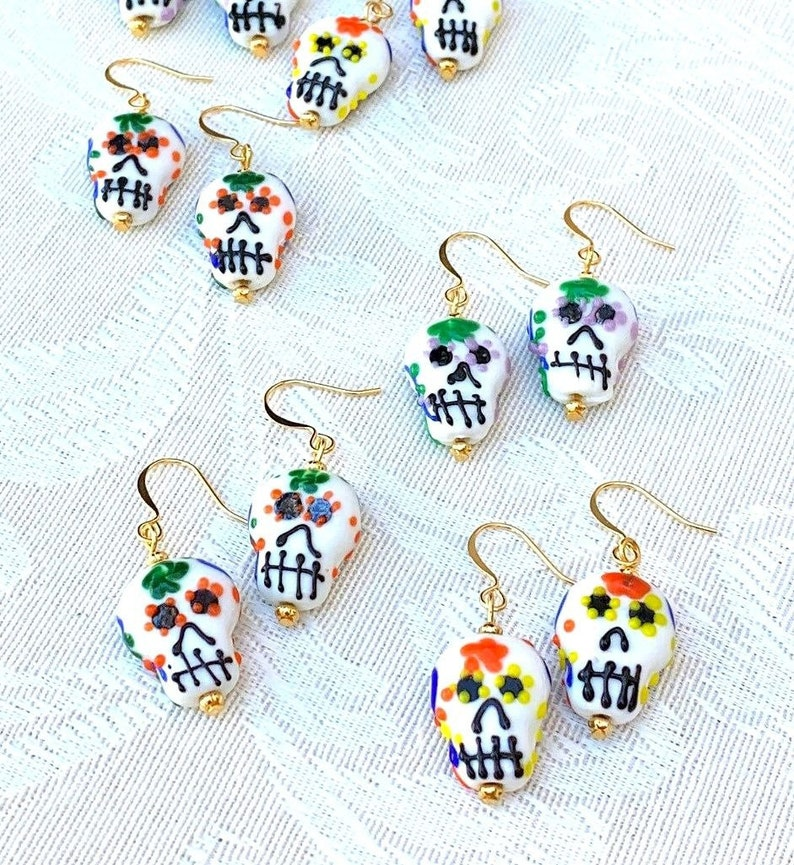 Calavera lampwork glass earrings Day of the Dead unique image 0