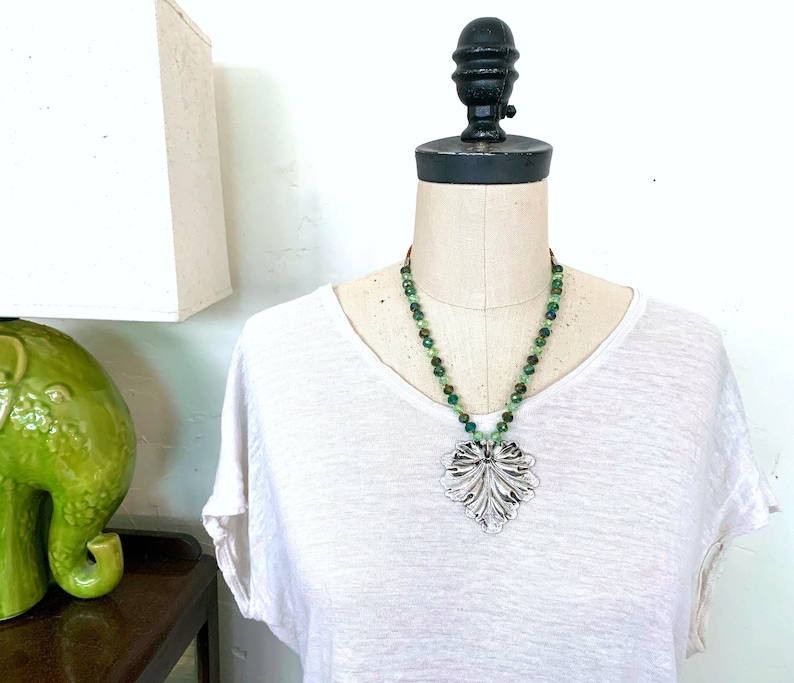Fern no. 5  beaded pendant necklace handmade unique gift for image 0
