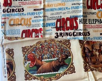 Circus print Designer Fabric by Windham Fabrics, 2 pieces
