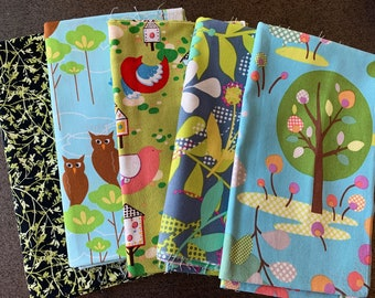 Designer Fabric and Linen - trees and flowers and birds