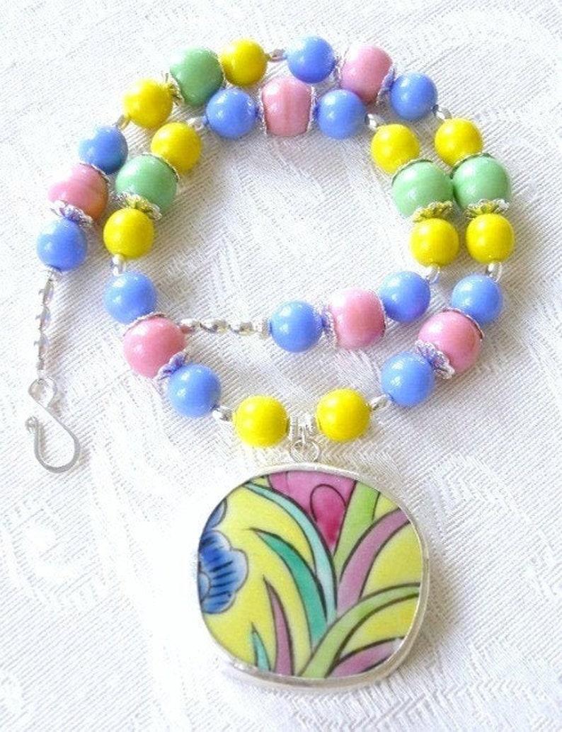 Lola  pottery shard necklace Ming dynasty unique handmade image 0