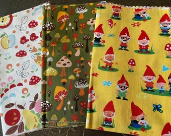 Designer fabric with cute mushroom and gnome prints - Alexander Henry, Michael Miller