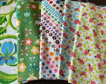 Designer Fabric - Bugs, Ladybugs, Bees, Butterflies, Caterpillars, Flowers, Garden, Alexander Henry, Michael Miller, Free Spirit