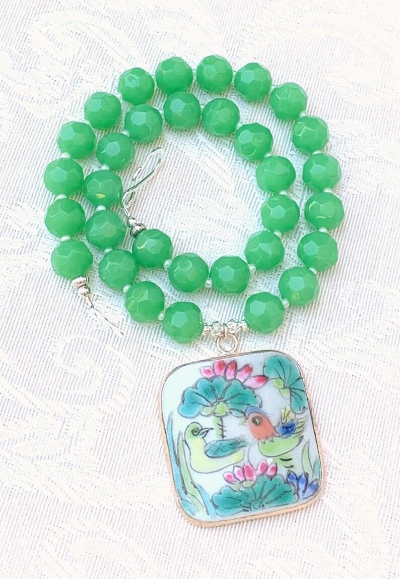 Kayla  pottery shard necklace beaded gemstone unique handmade image 0