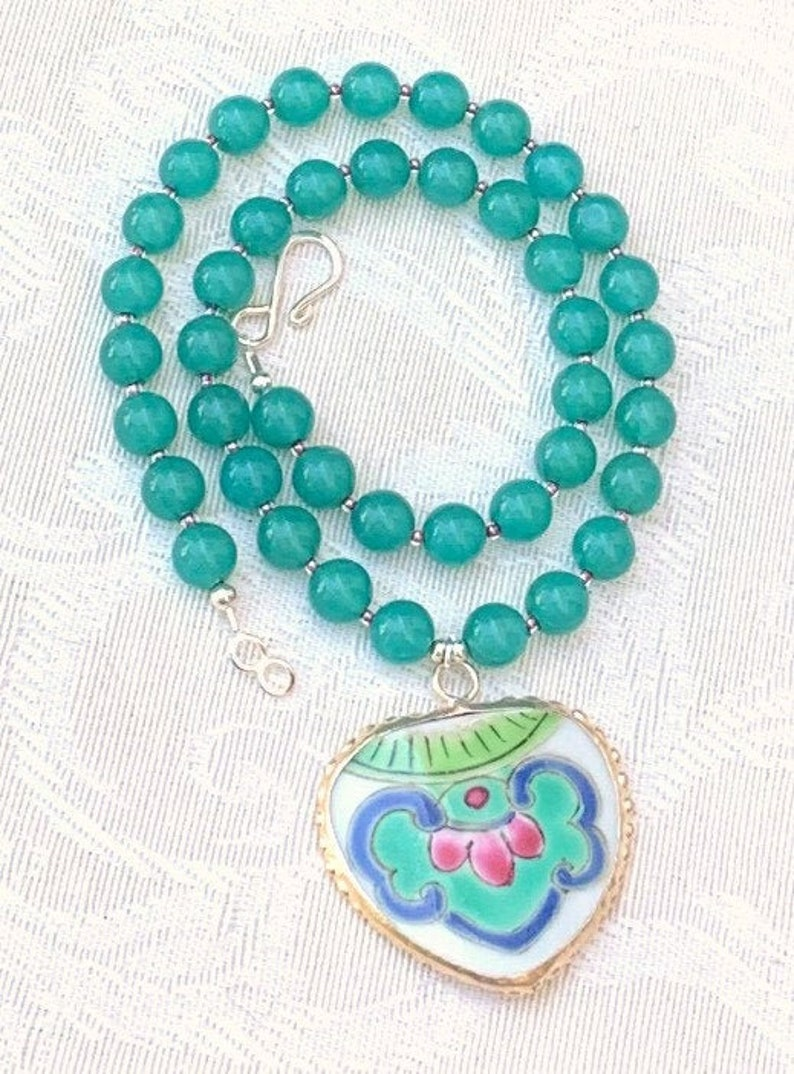 Maralee  pottery shard necklace beaded gemstone unique image 0