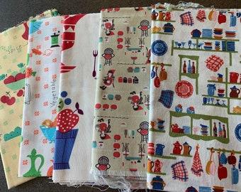 Designer fabric with cute retro vintage kitchen prints & bonus Japanese linen piece