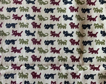 """Japanese linen with cute cat print - approx 50x27"""""""
