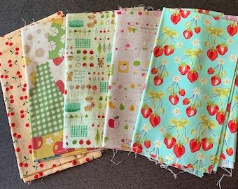 Japanese linen & designer fabric with cute kawaii fruit, bears, birds