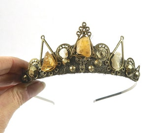 Isabel Tiara with choice of Raw Aventurine, Citrine or Quartz Crystal - by Loschy Designs