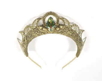 Gold Luna Crown with Green Gemstone - by Loschy Designs