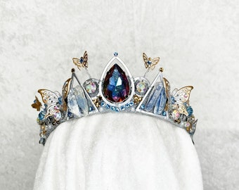Cinderella Inspired Crown - Silver with Raw Kyanite, Gemstones and Butterflies - by Loschy Designs