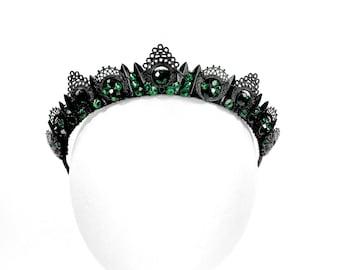 Catherine Crown - Black with Emerald Green Gemstones - by Loschy Designs
