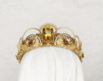 Beauty and the Beast Belle Inspired Crown - Gold with Raw Citrine, Gemstones and Roses - by Loschy Designs