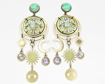 Cosmic Eyeball Earrings - With Raw Aventurine and Rainbow Gems - by Loschy Designs