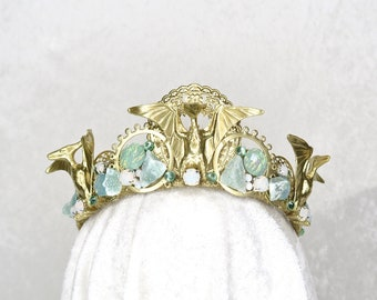Dinosaur Eleganza Crown - Gold with plastic Pterodactyls, Aventurine, Faux Opals and gemstones