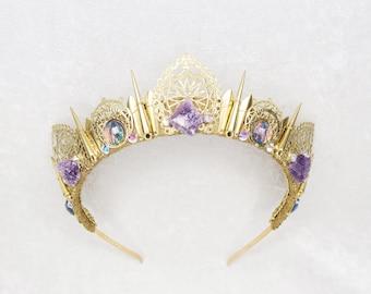 Rosamund Crown - Gold with Raw Amethyst and Rainbow Gemstones - by Loschy Designs
