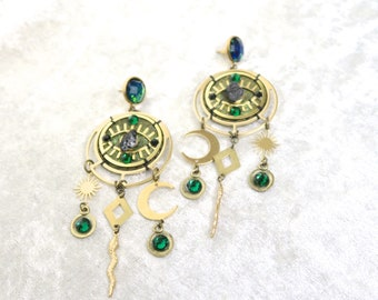 Cosmic Slytherin Earrings - With Raw Tourmalines and Faux Emeralds Gems - by Loschy Designs