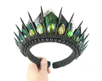 Bride of Swampthing Black Crown with Green Gemstones and Peacock Feathers - by Loschy Designs