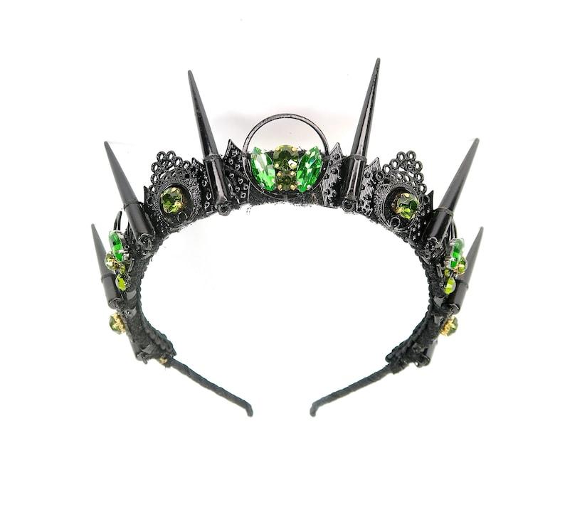 by Loschy Designs Black Spikes and Green Gemstones Esmerelda Crown