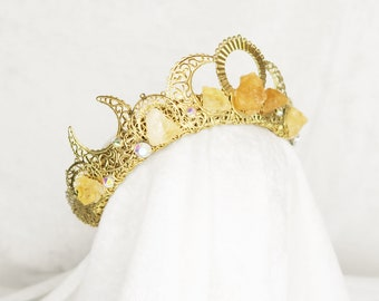 Eclipse Gem Gold Crown with Raw Citrine and Rainbow Glass Gemstones - by Loschy Designs